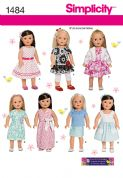 "1484 Simplicity Pattern: 45cm (18"") Doll Clothes"